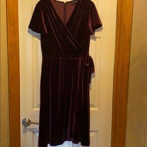 Velvet faux wrap party dress